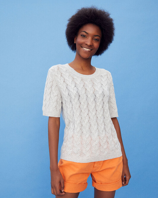 Short-sleeved airy cable stitch crew-neck - Frost grey