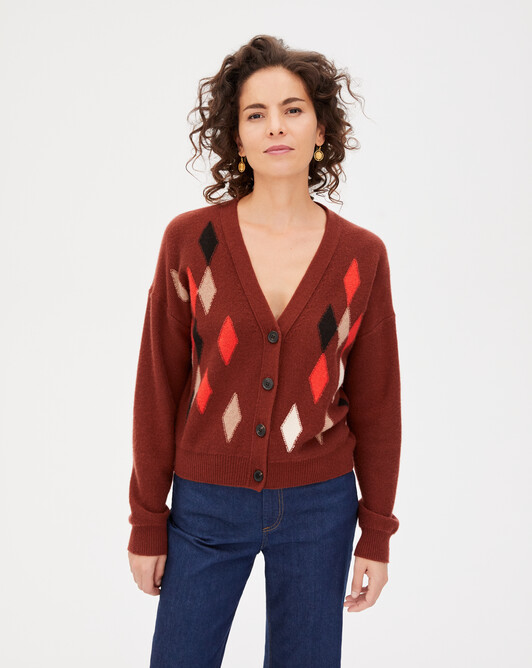 Multicoloured diamond intarsia cardigan - Chestnut