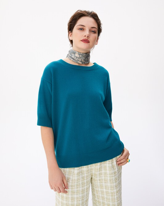 Contemporary short-sleeved maxi crew neck pullover - Yucca