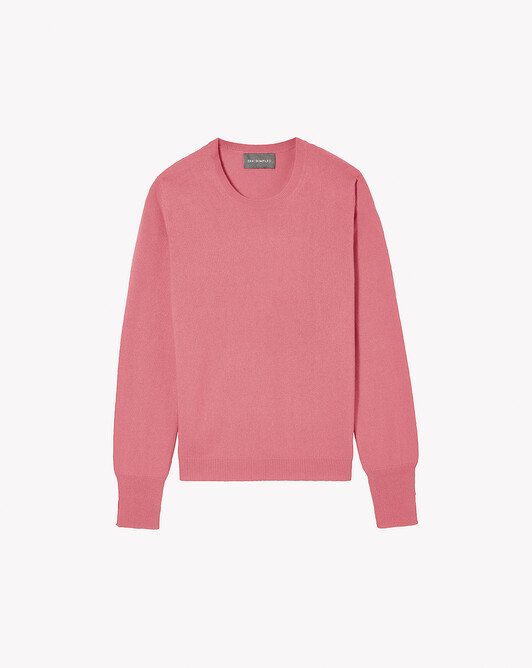 Fitted crew neck pullover - Rosewood