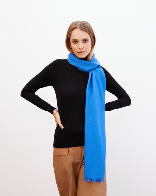 Cashmere voile scarf 150 cm x 55 cm - French blue