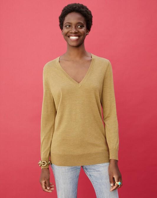 Extrafine oversized V-neck pullover - Lion