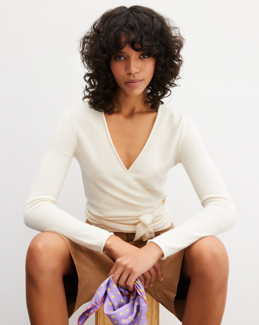 Tied wrapover top - Autumn white