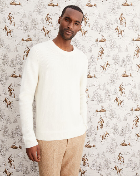 Ribbed crew neck pullover - Autumn white