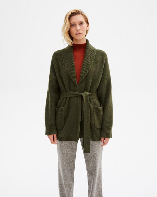 Alpaca/cashmere shawl collar jacket - Kale
