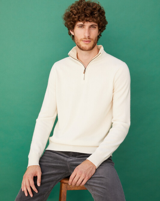 2-ply half-zip pullover - Autumn white