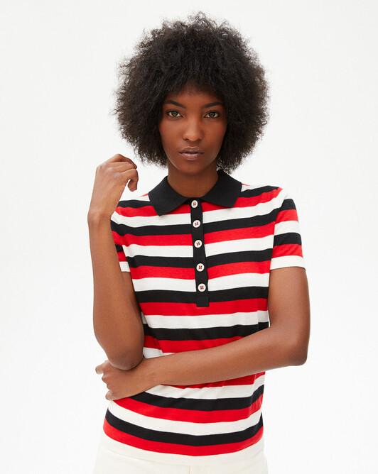 Polo manches courtes rayures tricolores - Naturel/rubis/noir