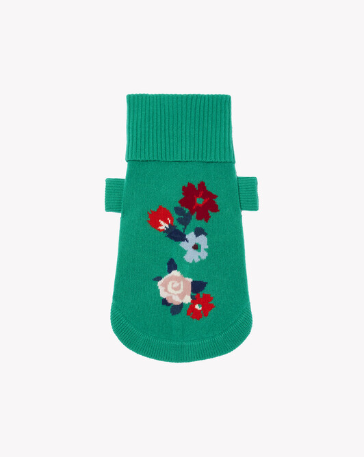 Flower intarsia dog pullover - Peppermint