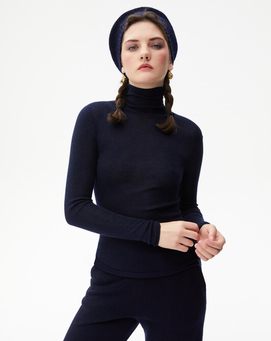 Extrafine roll-neck seamless - Navy blue