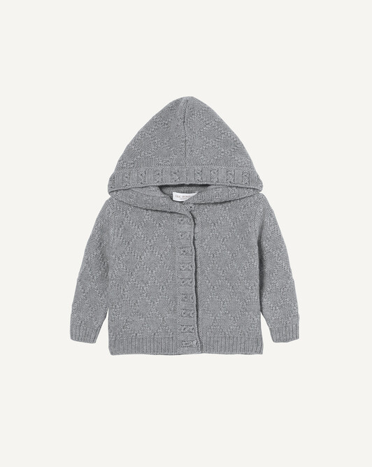 Garter stitch hooded jacket - Flannel grey