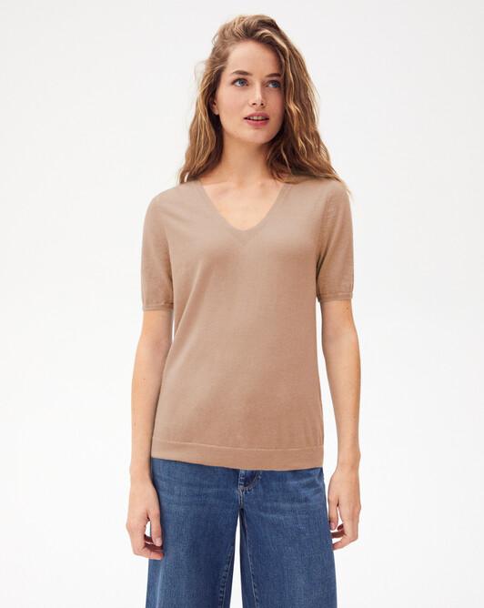 Contemporary extrafine short-sleeved V-neck - Coriander