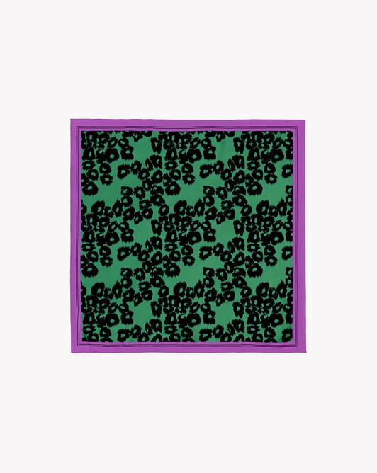 Carré soie imprimé ikat léopard 70 cm x 70 cm - Peppermint