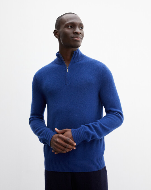 2-ply half-zip pullover - Royal