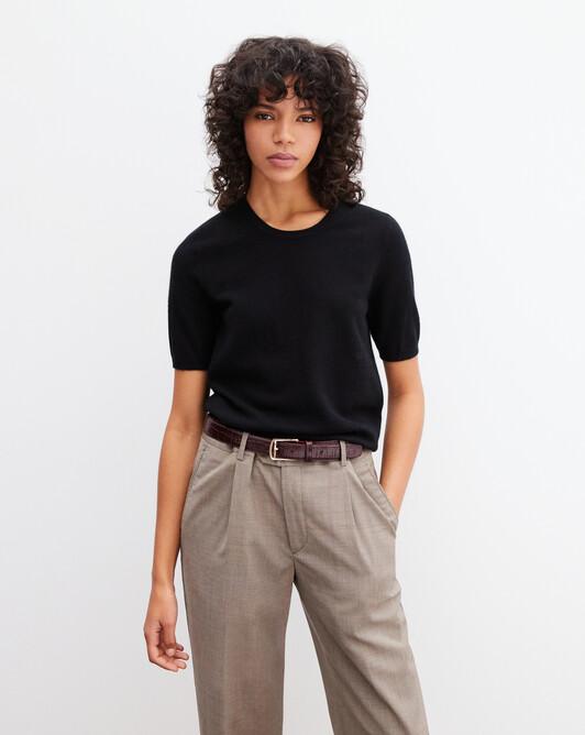 Classic short-sleeved crew neck pullover - Black