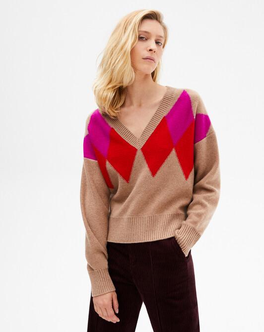 Intarsia diamond V-neck sweater - Camel/ruby red/fushia