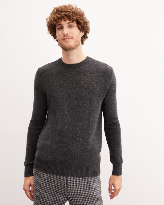 Marl moss stitch crew neck pullover - Charcoal grey