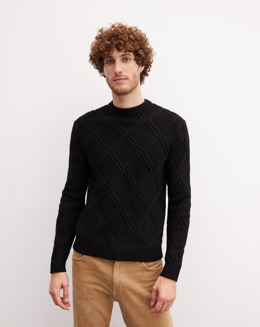 Diamond cable-stitch crew neck pullover - Black