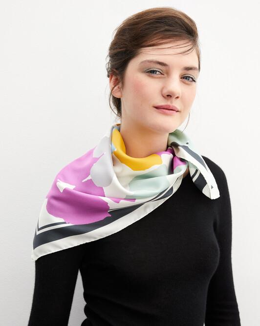 Carré soie imprimé fleurs romantiques 70 cm x 70 cm - Multicoloris