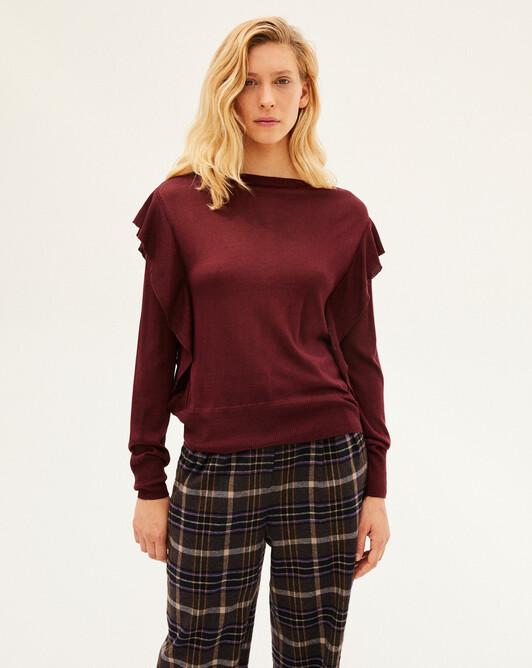 Ruffle silk boat-neck sweater - Dahlia