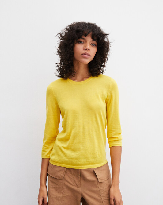 3/4 length-sleeved extrafine crew-neck pullover - Canari yellow