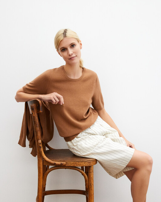 Classic short-sleeved crew neck pullover - Vicuna