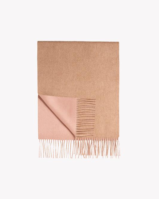 Écharpe double face 175 cm x 35 cm - Camel/blush