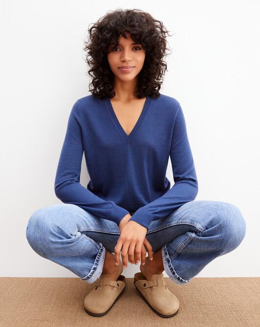 Extrafine V-neck pullover - Indigo