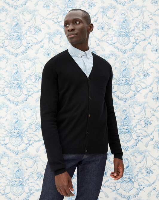 Fitted cardigan with offset shoulders - Black