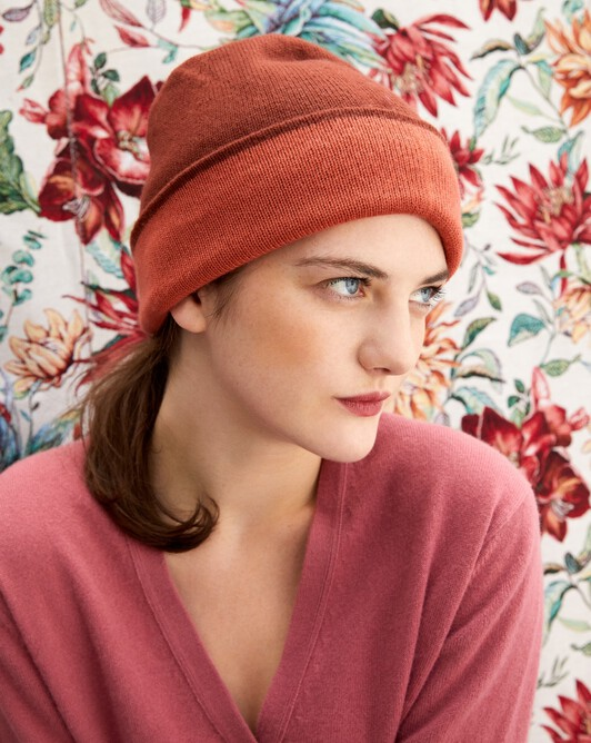 Two-colour off-gauge hat - Chestnut/sienne