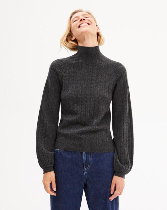 Heart pointelle blouse sleeve turtleneck sweater - Charcoal grey