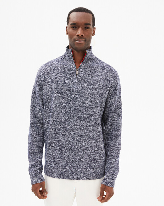 Marl zipped collar sweater - Navy blue/autumn white marled