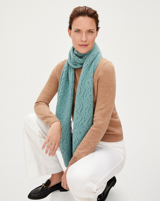 8 ply pointelle scarf 205 x 30 cm - Spruce