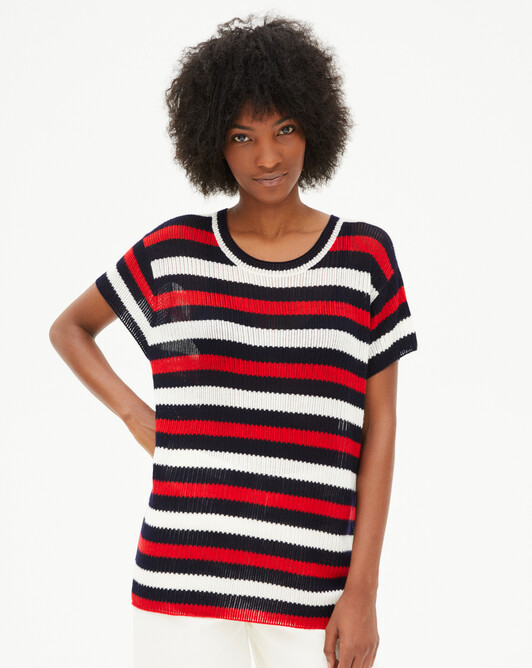 Tricolour short-sleeved boat neck openwork sweater - Rubis red/navy blue/autumn white