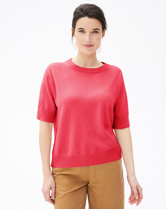 Contemporary short-sleeved maxi crew-neck sweater - Pitaya
