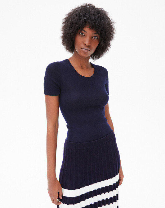 Seamless short-sleeved extrafine ribs crew neck - Navy blue