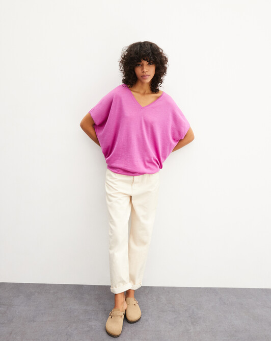 Extrafine batwing V-neck pullover - Orchid pink
