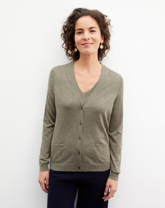 Contemporary extrafine cardigan - Khaki