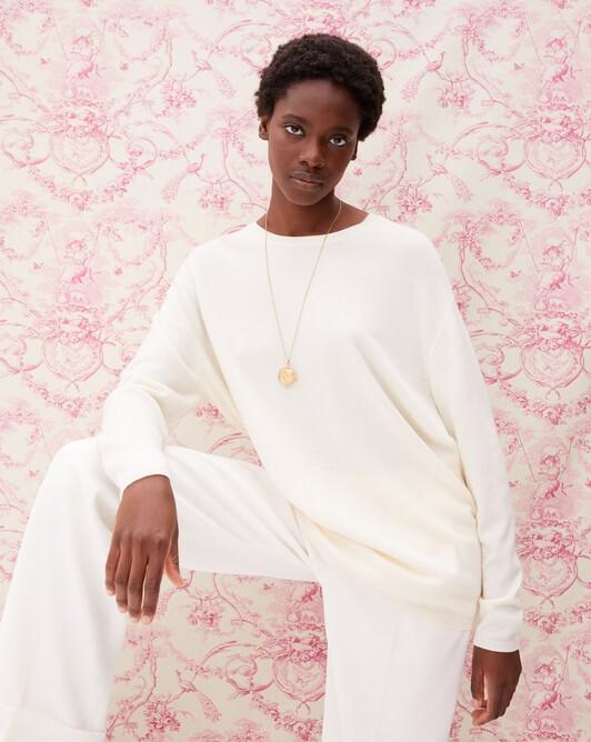 Contemporary maxi crew neck pullover - Autumn white
