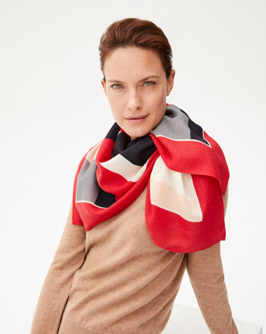 Graphic square scarf - Ruby red