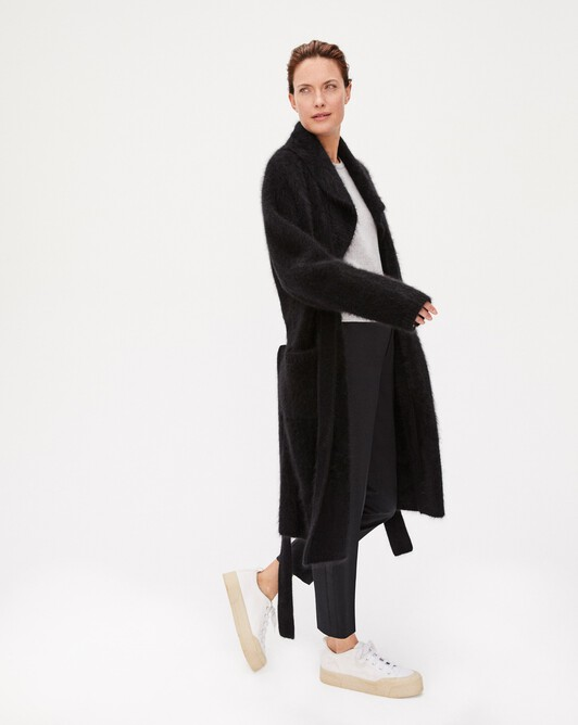 Brushed cashmere coat - Black