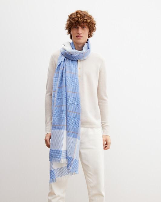 Tartan woven stole 180cm x 85cm - French blue