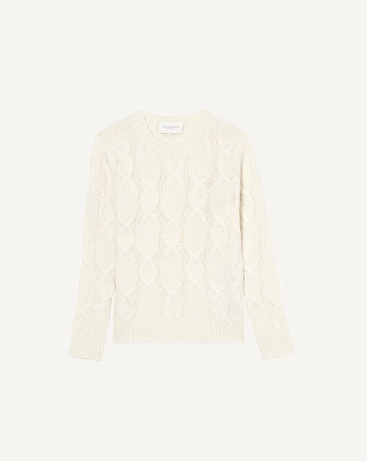 Alpaca/Cashmere crew neck sweater - Autumn white