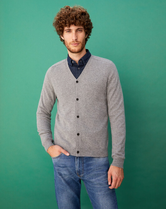 Fitted cardigan with offset shoulders - Flannel grey