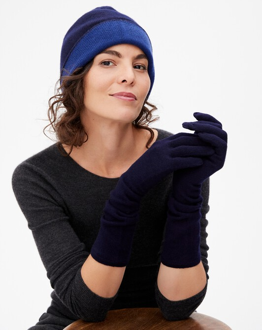 Long gloves - Navy blue