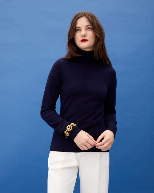 Fitted roll-neck - Navy blue