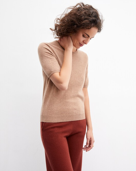 Classic short-sleeved crew neck pullover - Camel