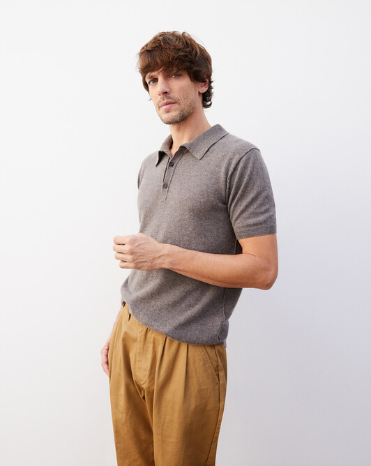 Cashmere/linen short-sleeved polo - Bark