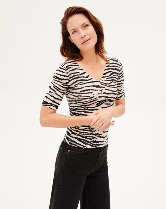 Extrafine tiger print short-sleeved V-neck sweater - Turtledove beige