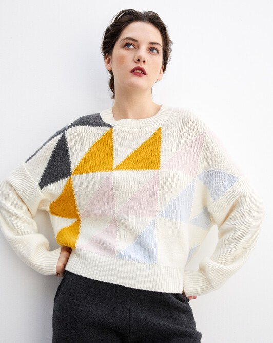 Geometric intarsia oversized crew neck pullover - Autumn white