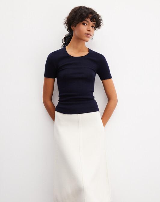 Seamless short-sleeved extrafine ribs crew neck - Navy blue